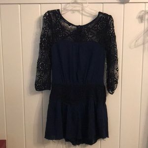 Free people navy dress with lace arms